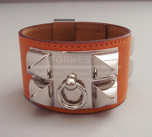 hermes collier de chien orange cdc bracelet phw silver nib auth. Black Bedroom Furniture Sets. Home Design Ideas