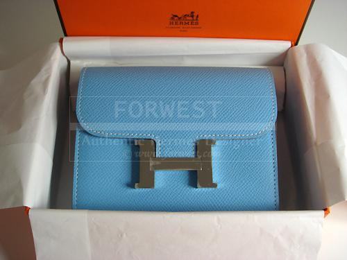 Hermes Constance H Wallet Coin Purse Candy Celeste Authentic