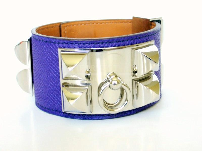 Hermes Crocus Cdc Purple Collier De Chien Bracelet Phw