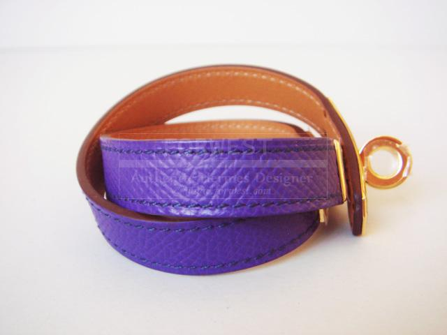 Hermes Crocus Kelly Double Tour Bracelet Purple Kdt Gold New Auth