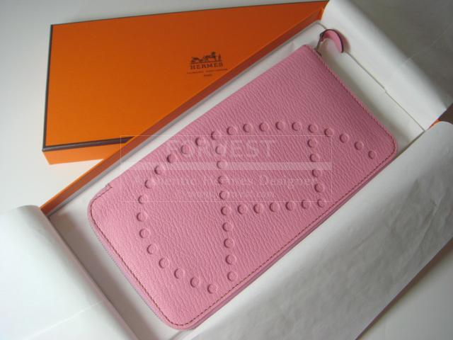 Hermes Evelyne Long Wallet Bubblegum Pink Clutch Authentic
