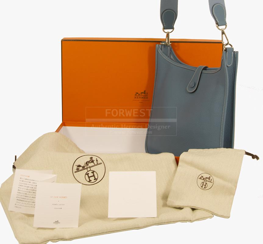 Hermes Evelyne PM Blue Jean Messenger Bag With Box Pochette-$2500.0000