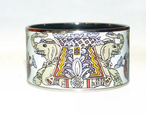 hermes bag sale - Hermes Extra Wide PM Bangle Bracelet Painted Enamel Elephants ...