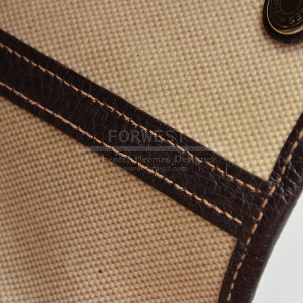 Hermes Garden Party Bag Brown Leather Beige Canvas Hand Bag H365