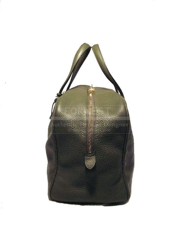 Hermes Green Clemence Leather Travel Duffle Bag
