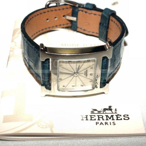 Hermes H Our Silver Tone Ladies Watch Blue Alligator Strap