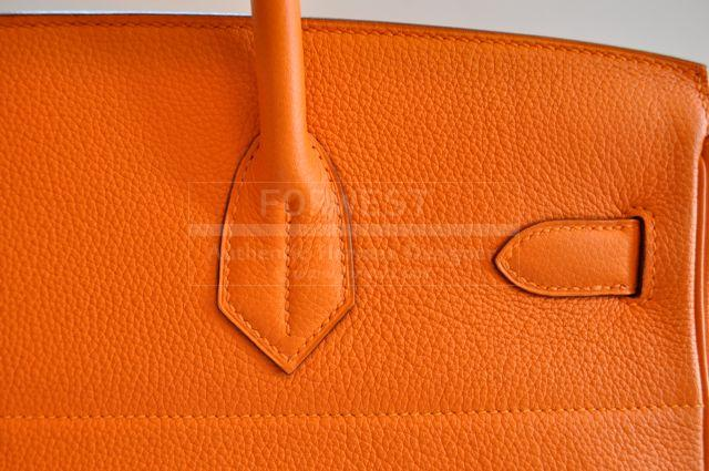 Hermes Haut A Courroies Hac Orange Clemence Leather Purse Gold Hw