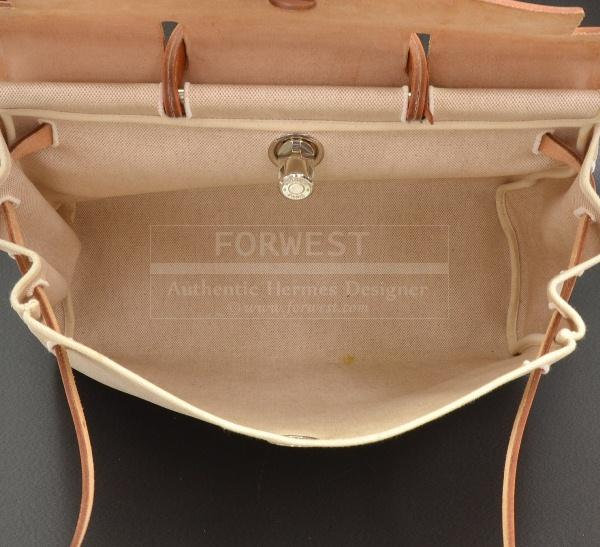 Hermes Herbag 2 In 1 Beige Canvas Sand Leather Backpack H348 ...
