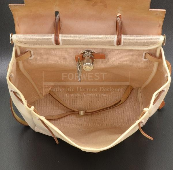 Hermes Herbag Beige Canvas Leather Backpack Hand Bag H347-$699.0000