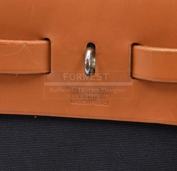 Hermes Herbag PM Beige X Black Canvas Leather Shoulder H352