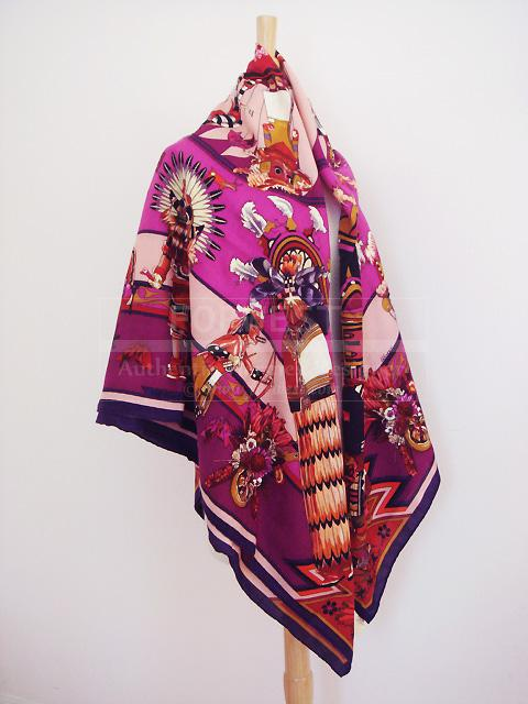 Hermes Kachinas Shawl Iris Cashmere GM Scarf Wrap New Authentic