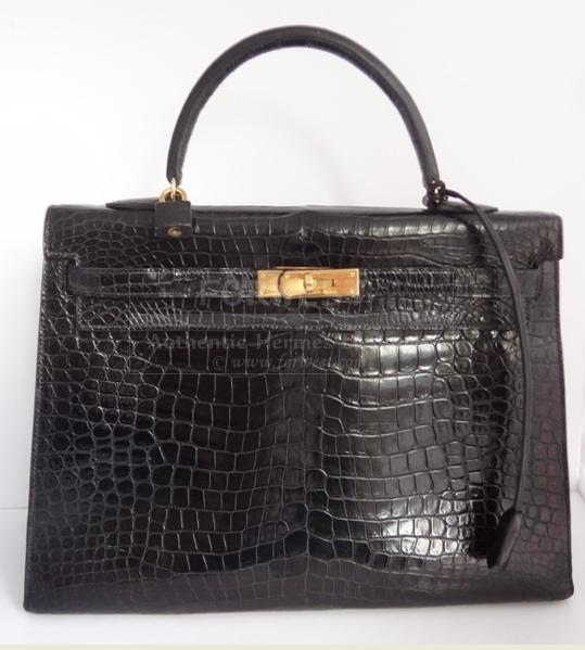 Hermes Kelly 35 Handbag In Crocodile Porosus With Gold Hardware