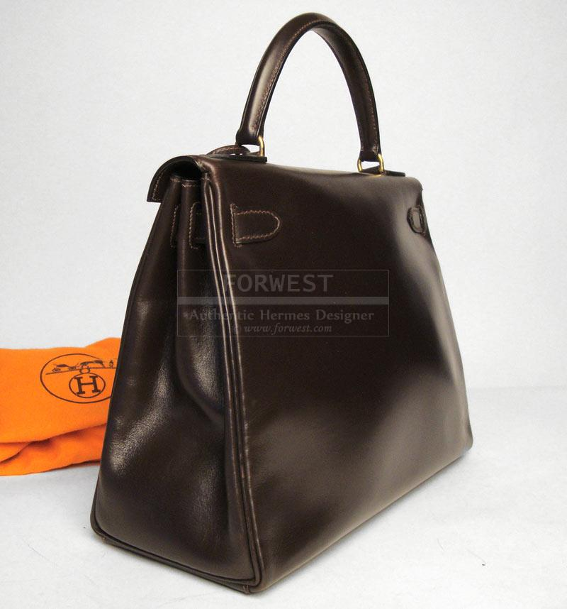 Hermes Kelly Bag 28cm Brown Box Calf Leather Gold Hardware-$5200.0000