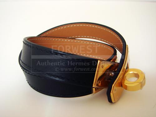 Hermes Kelly Double Tour Bracelet Black W Gold Ghw Kdt Nib Authth