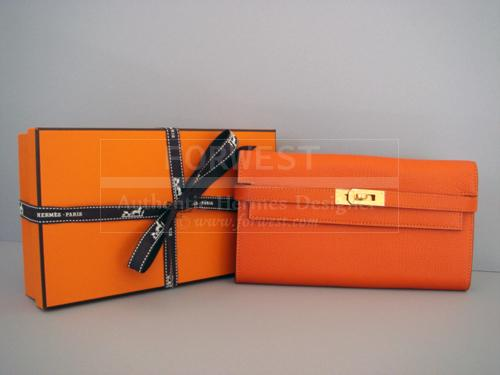 Hermes Kelly Long Wallet Clutch Orange Feu Gold Hardware New Auth