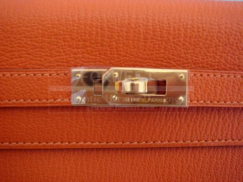 Hermes Kelly Long Wallet Clutch Orange Feu Gold Hardware New Auth ...