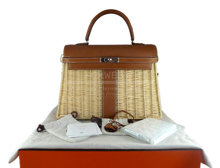 Hermes Kelly Picnic 35cm Barenia Leather Wicker Basket Ltd Ed