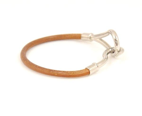 Hermes Leather Bracelet Brown Silver Tone Hook H375