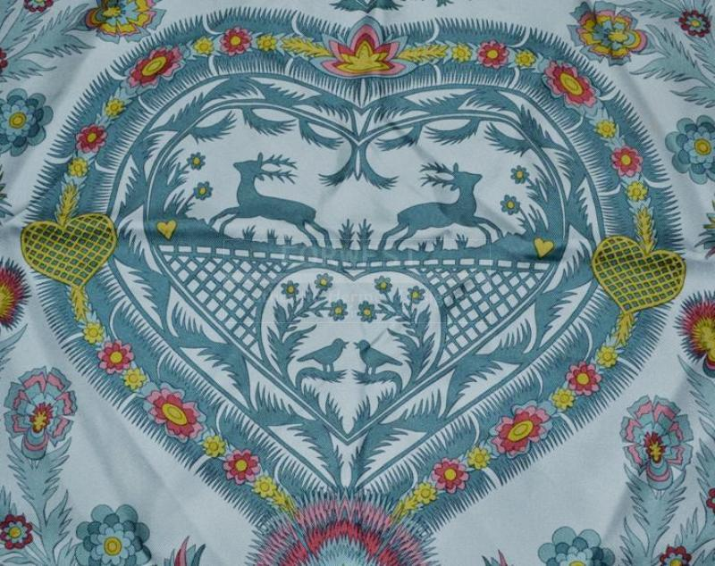 Hermes Light Dark Blue Decoupages Anne Rosat 90cm Silk Scarf