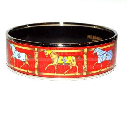 Hermes Mint Red Equestrian Painted Enamel Bracelet Medium Size