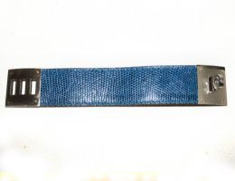 Hermes Mykonos Blue Lizard Kelly Leather Cuff Bracelet