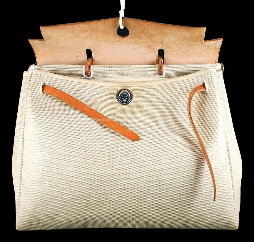 Hermes Natural Toile Cavas Her Bag GM 2 In 1 Tote Bag W strap
