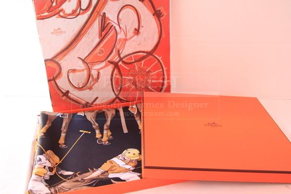 Hermes Navy Yellow Les Poneys De Polo Silk Scarf