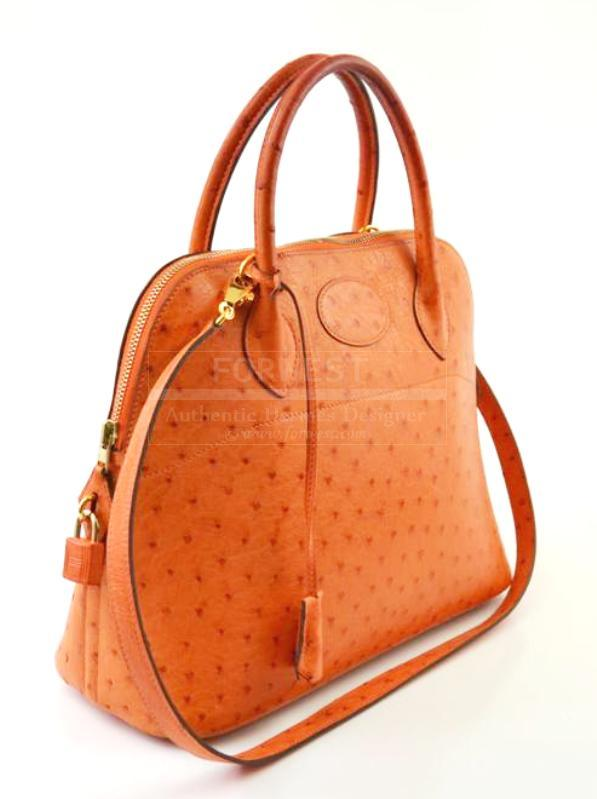 Hermes Orange-Ostrich Bolide Handbag Bag Tote 31cm With Strap Ghw ...