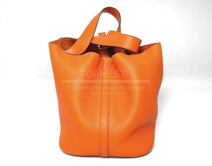 Hermes Orange Clemence Leather Picotin MM Bag