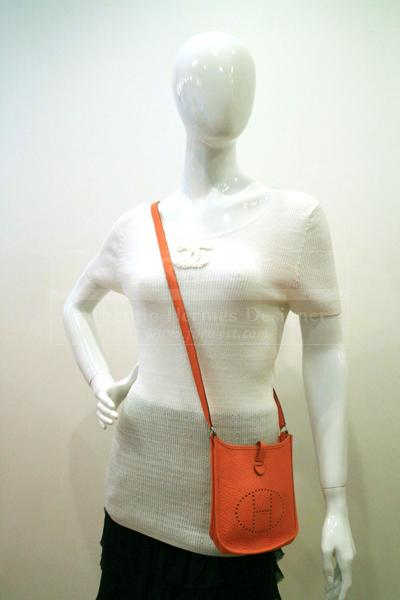 Hermes Orange Leather Mini Evelyne Bag