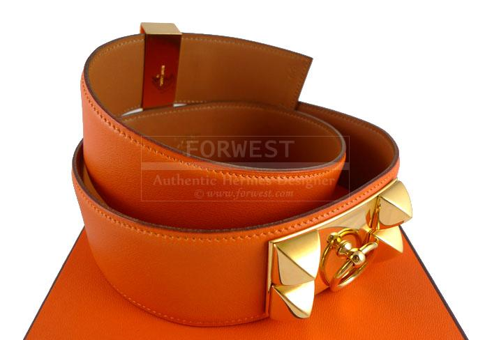 hermes orange swift cdc collier de chien belt gold hardware rare. Black Bedroom Furniture Sets. Home Design Ideas