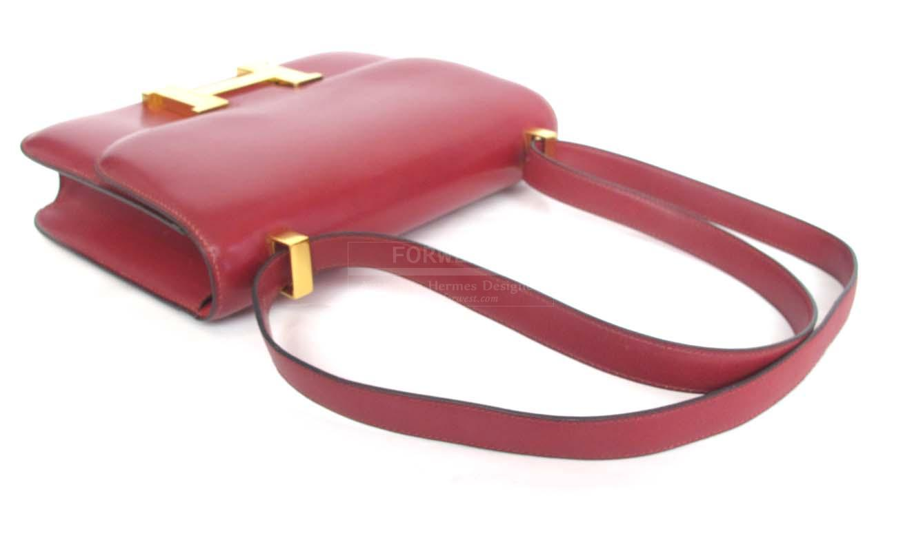 Hermes Red Box Leather Constance H Bag