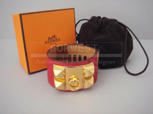 Hermes Red Cdc Collier De Chien Rouge Casaque Bracelet Ghw Gold