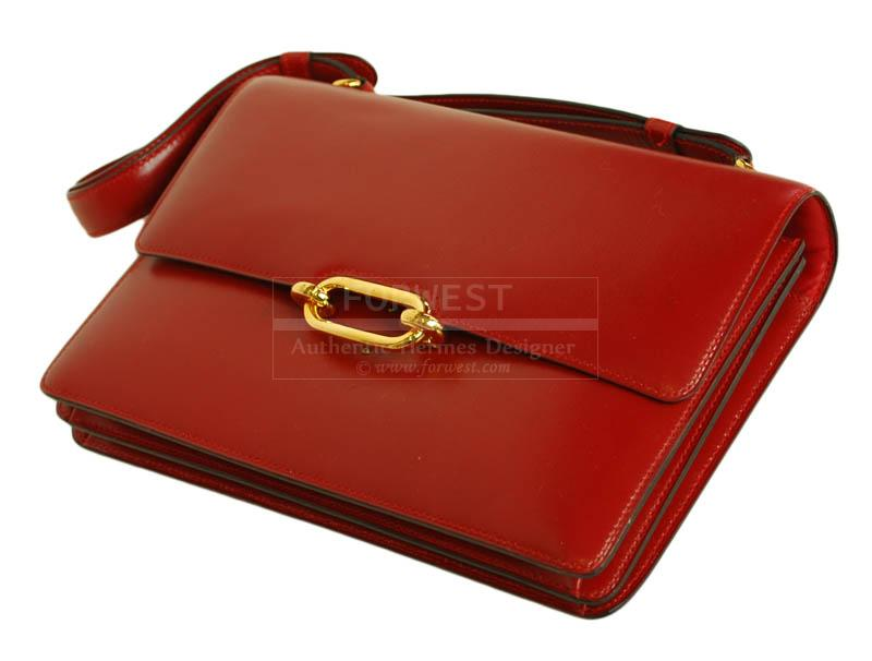 hermes kelly birkin bag - Hermes Red Leather Vintage Fonsbelle Shoulder Bag-$1800.0000