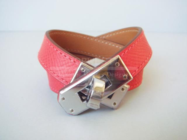 Hermes Rose Jaipur Kelly Double Tour Pink Bracelet Phw New Auth