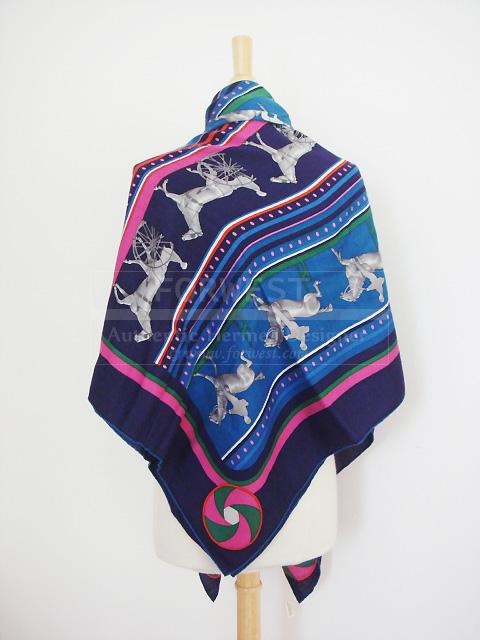 Hermes Sequences Shawl Iris Cashmere GM Scarf Wrap New Authentic
