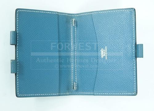 Hermes Small Blue Jean Leather Agenda Cover