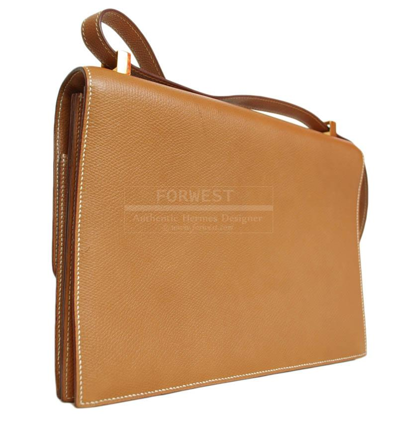 Hermes Tan Leather Shoulder Flap Bag With Gold Push Lock
