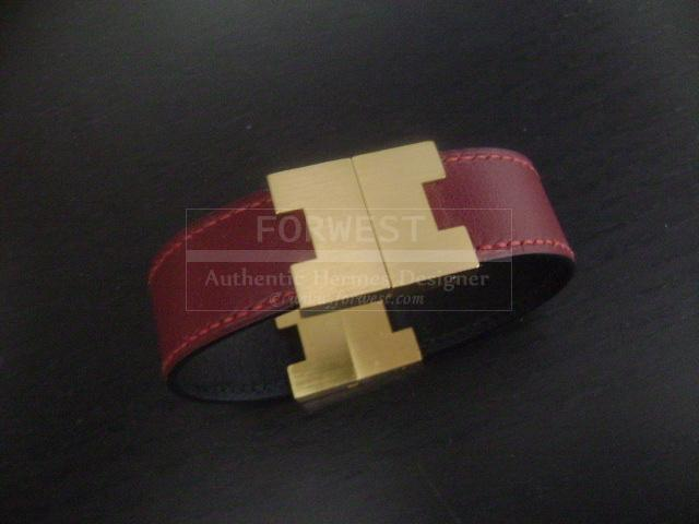Hermes Vintage 2 Color Leather Bracelet