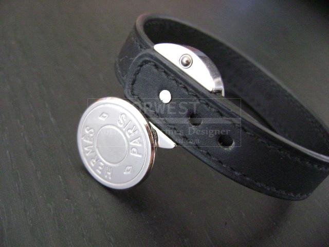 Hermes Vintage Coin W Black Brown Leather Bracelet