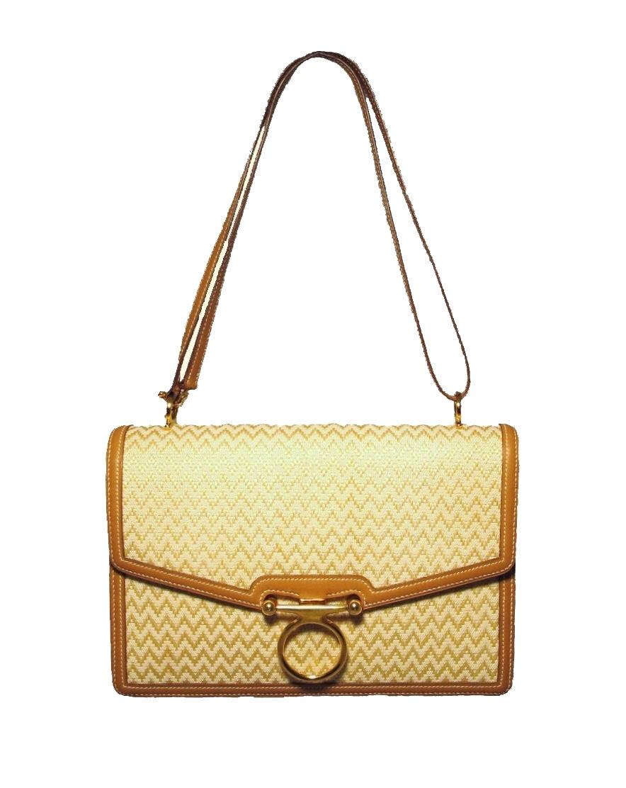Hermes Woven Linen Leather Trim Shoulder Bag