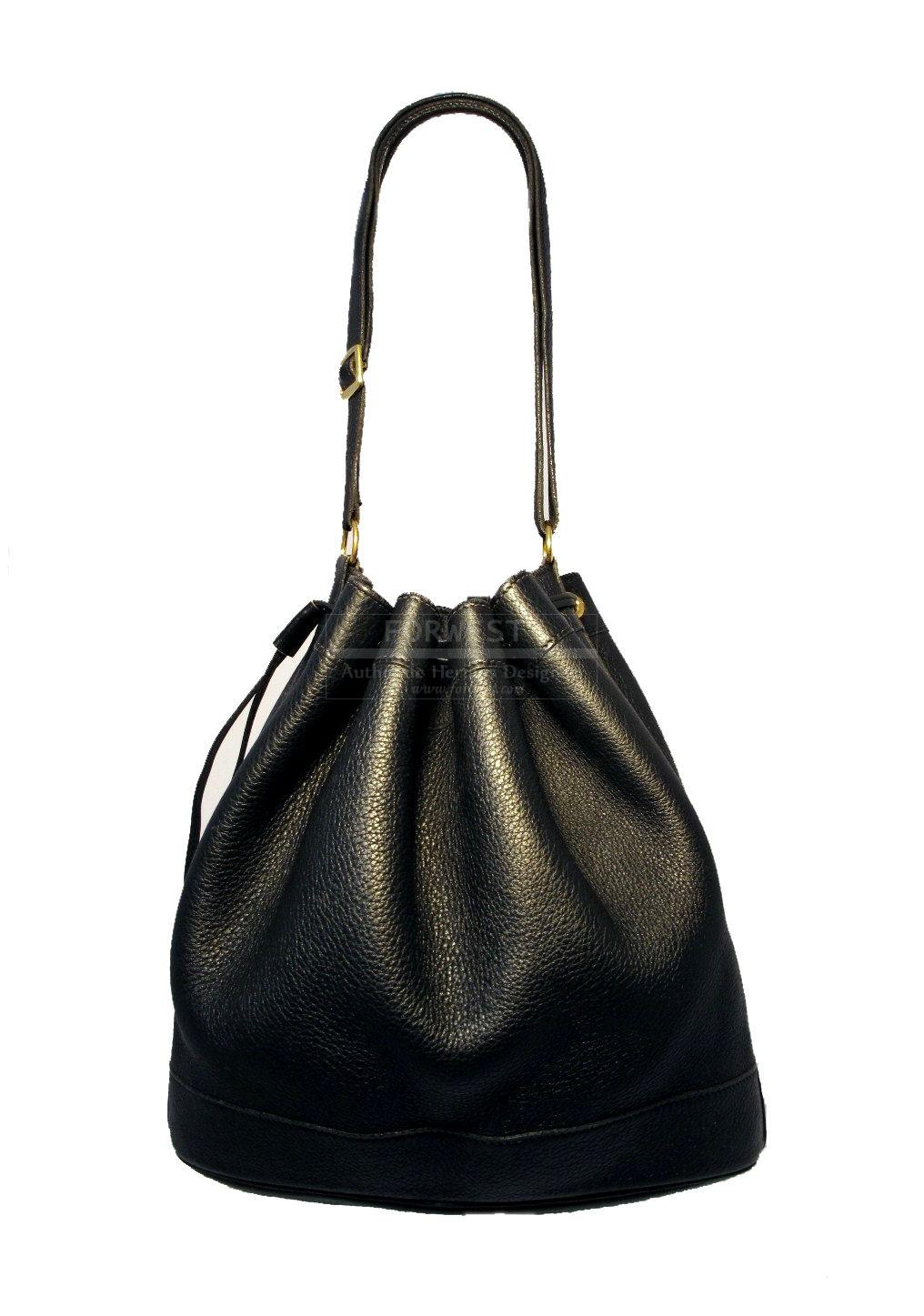 Hermes quotmarket quotBlack Leather Drawstring Bucket Shoulder Bag