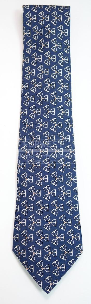 New Hermes Silk Tie Blue and White Horseshoe Pattern 7479 Ia