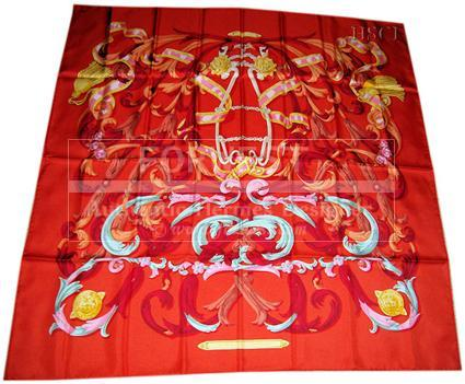 Rare 1970 Le Mors A La Conetable Equestrian Hermes Scarf In Red