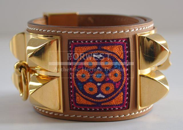 Rare Authentic Hermes Collier De Chien Cdc Rare Indian Embroidery