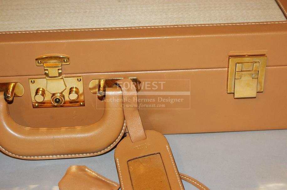Rare Vintage Hermes Leather and Panama Hardsided Briefcase