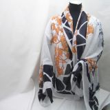 Auth Hermes Black and White Giraffe Xxl Scarf Wrap Rare