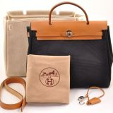 Auth Hermes Herbag 2 In 1 Beige X Black Canvas Sand Leather H311
