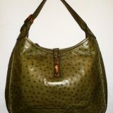 Auth Hermes Moss Green Ostrich Leather Trim Bag 31cm