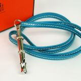 Auth Hermes Ultrasonic Dog Whistle Blue Jean Leather Necklace